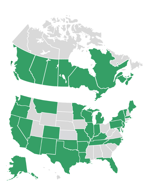 STM Clients in USA and Canada Map